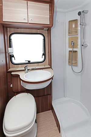 Toilet and shower in an RV