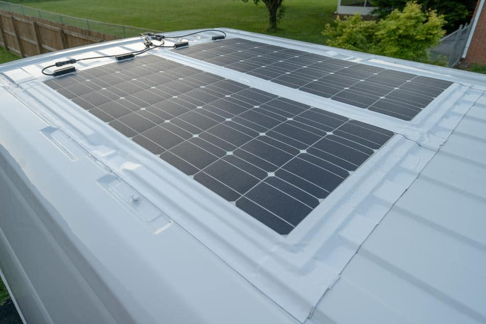 Flexible solar panels on van roof