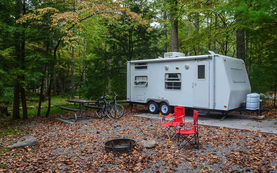 Travel trailer in camping location
