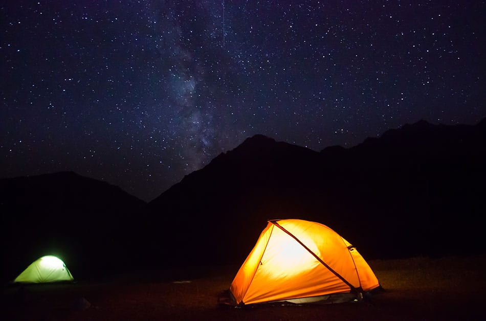 Off-grid camping in a tent