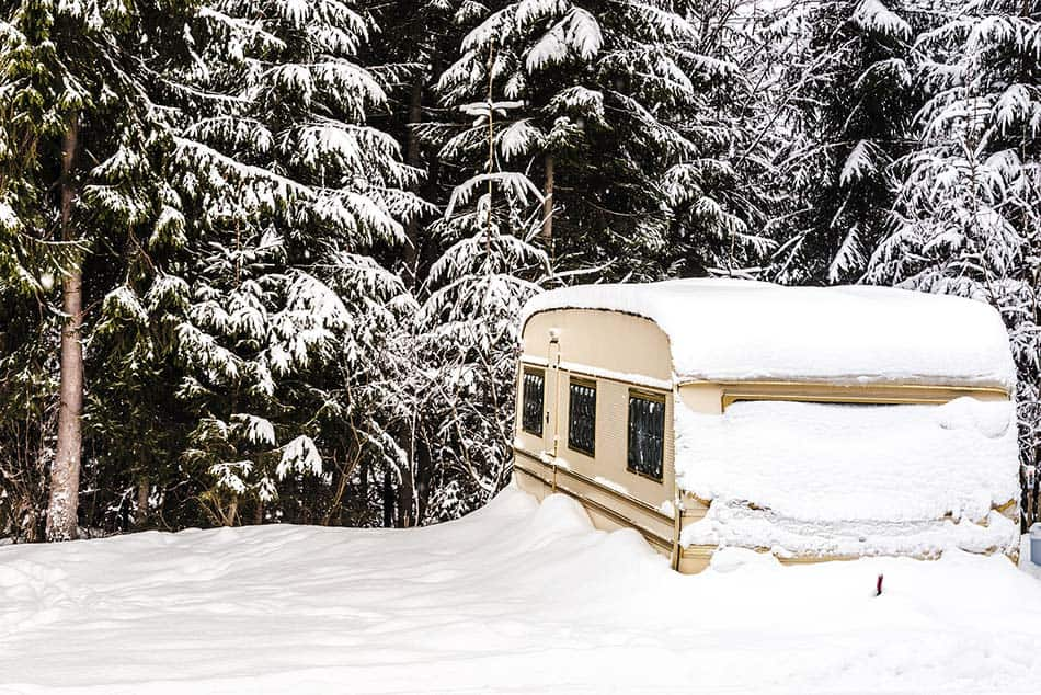 RV parked in snow