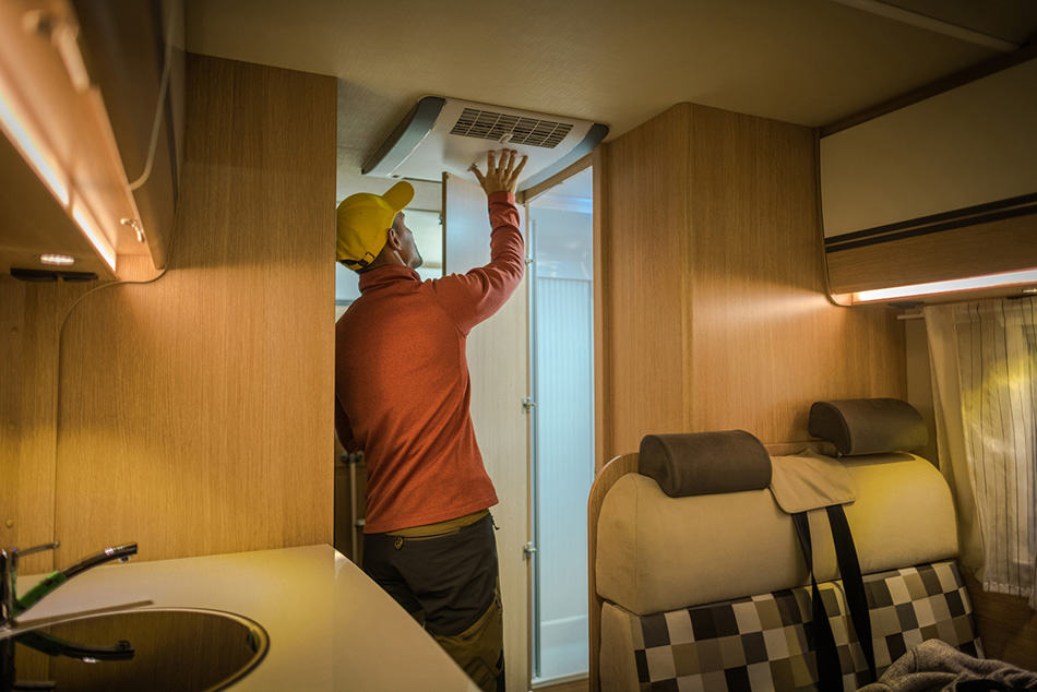 Air conditioner in ceiling of RV