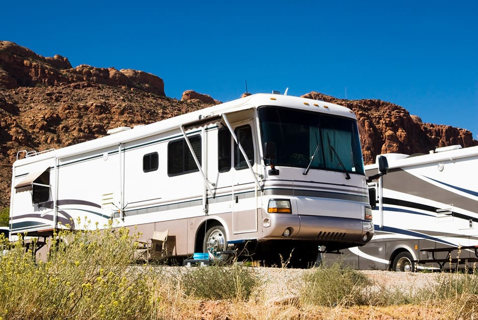 Class A RV parked in campground