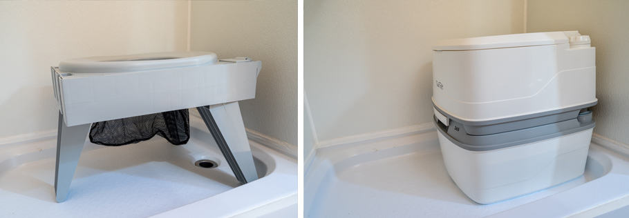 Cleanwaste toilet and cassette toilet sitting in shower pan