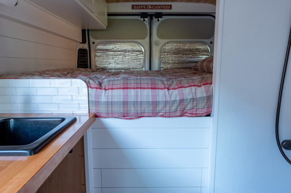 View of made up bed