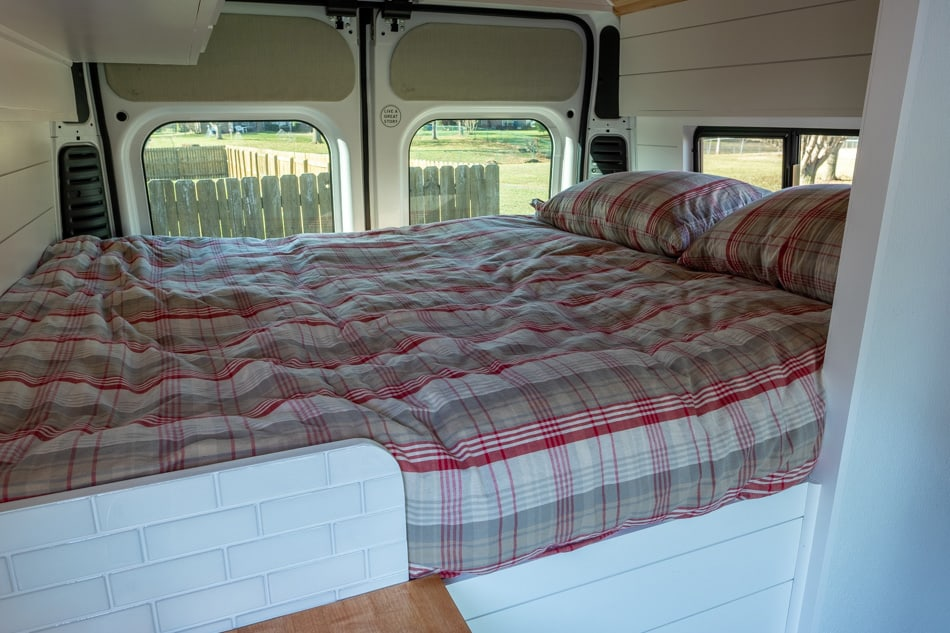 Completed bed with covers