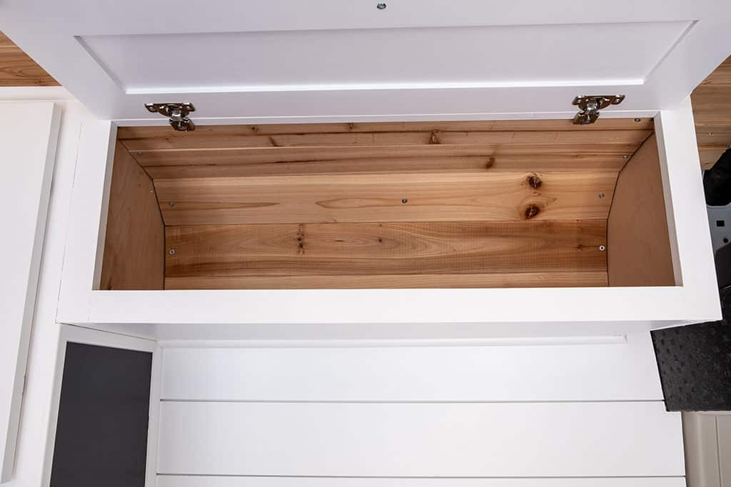 Overhead cabinets view of cedar backing