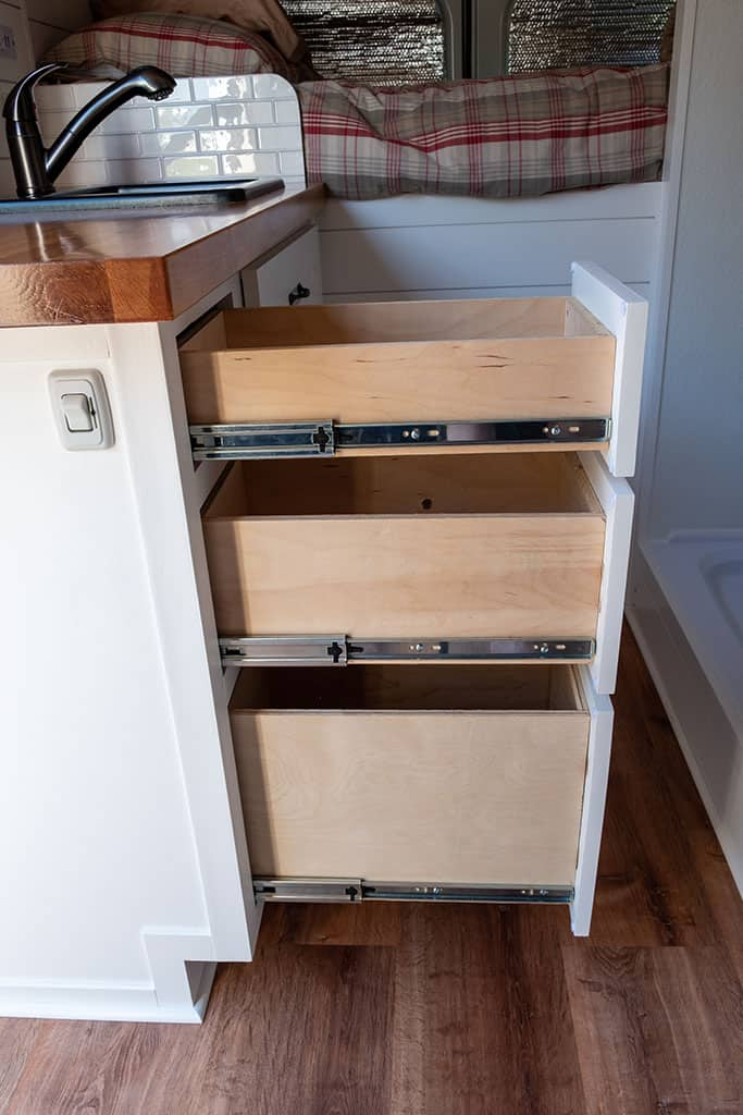 3 kitchen drawers fully extended