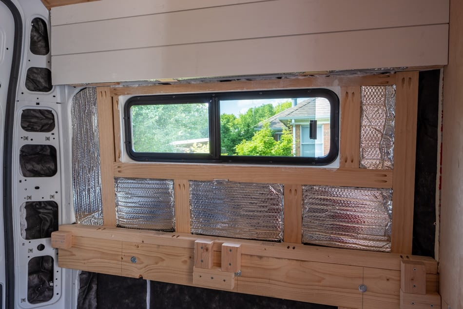 Window roughed into van