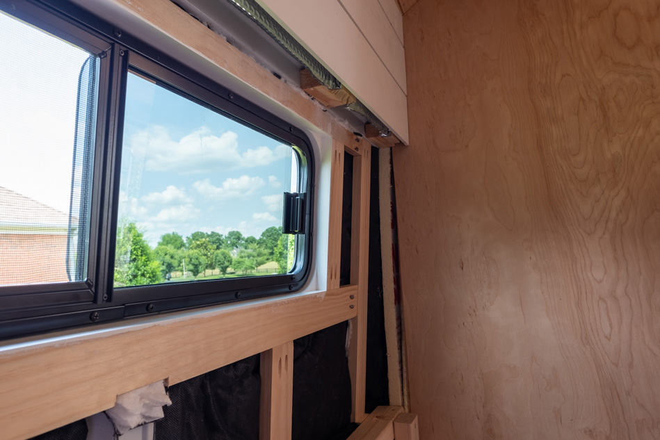 Inside view of rear sliding window
