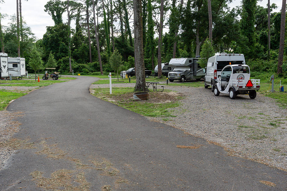 Parked in a campsite at Jekyll Island
