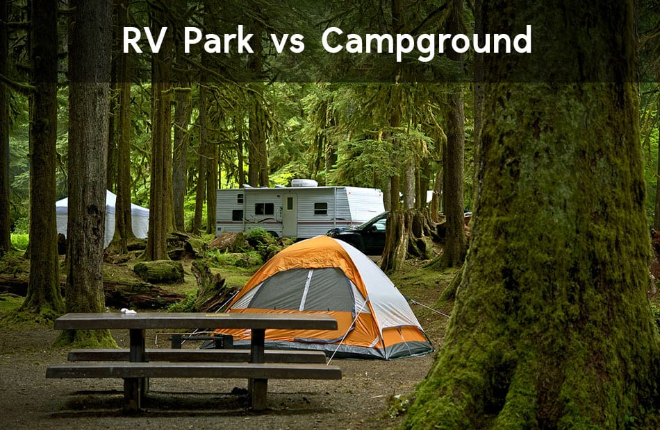 RV and tent in a campground