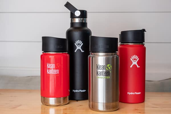 Insulated bottles on table