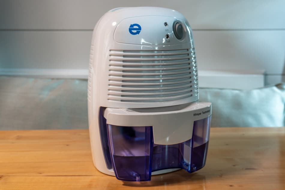 Dehumidifier filled with water