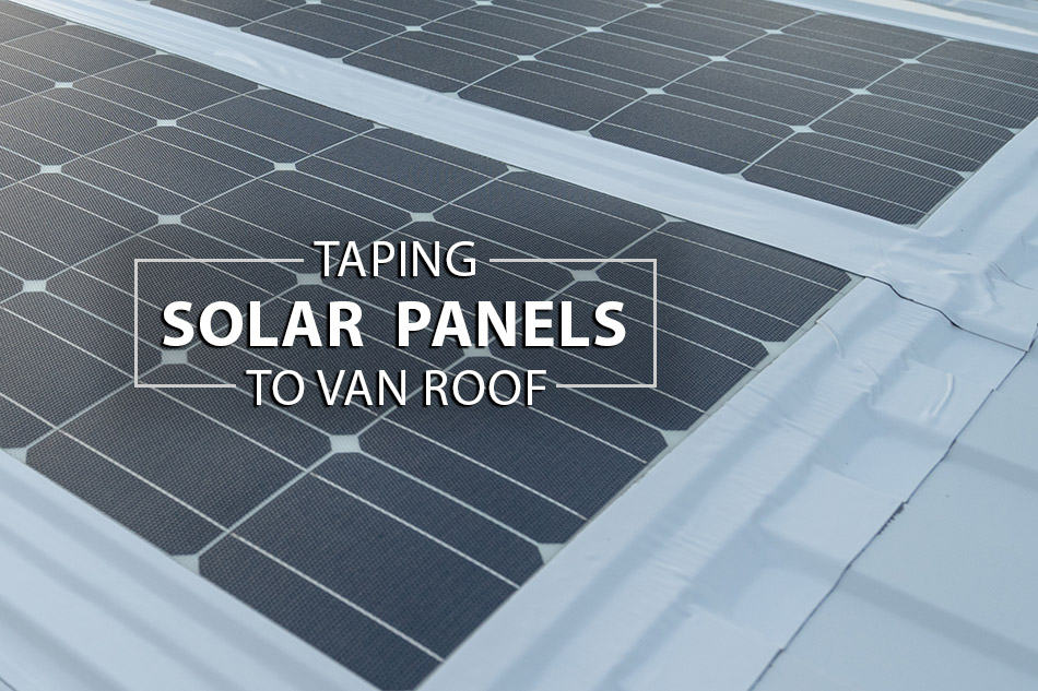 Flexible solar panels taped to roof