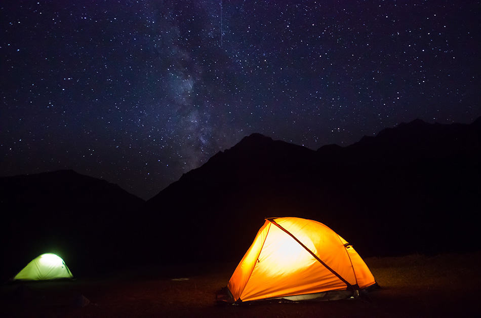 Milky way sky while camping in tent