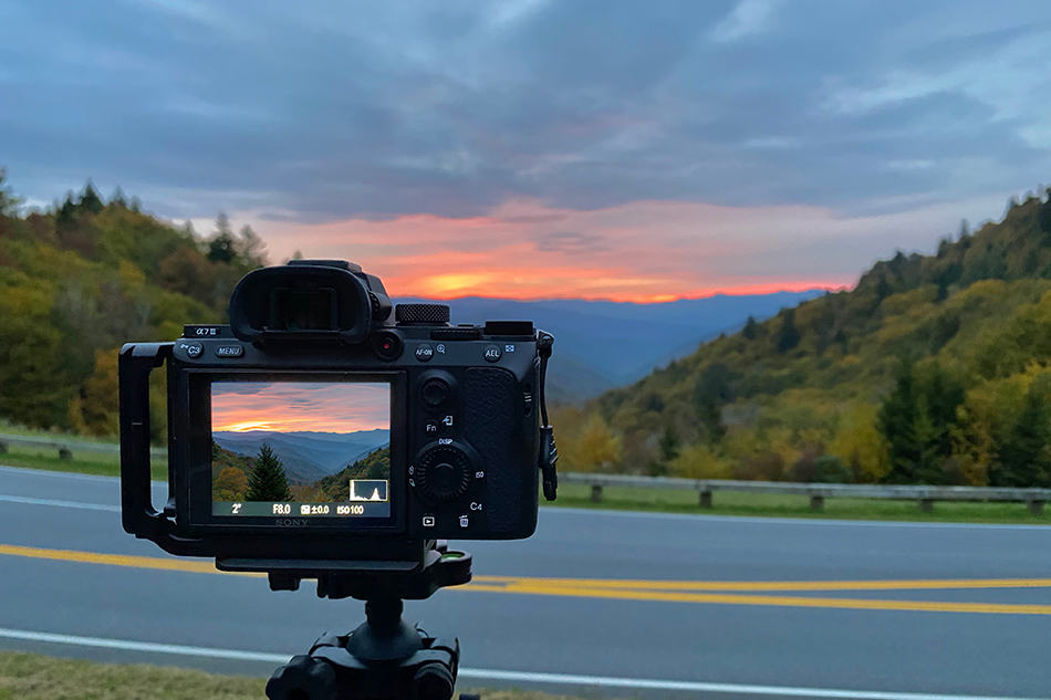 Photographing sunrise in the mountains