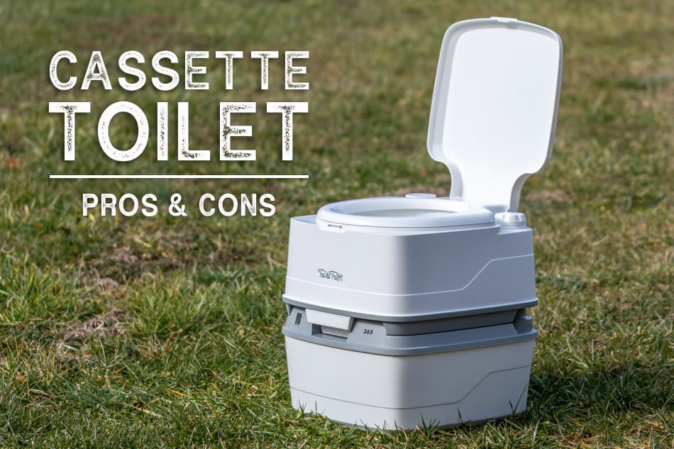 Cassette toilet sitting in grass