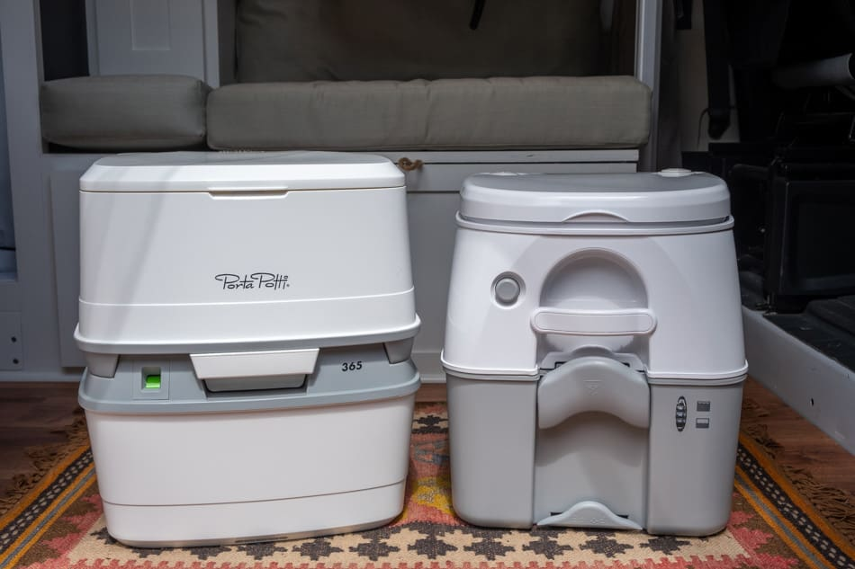 Portable toilets in van with closed lids