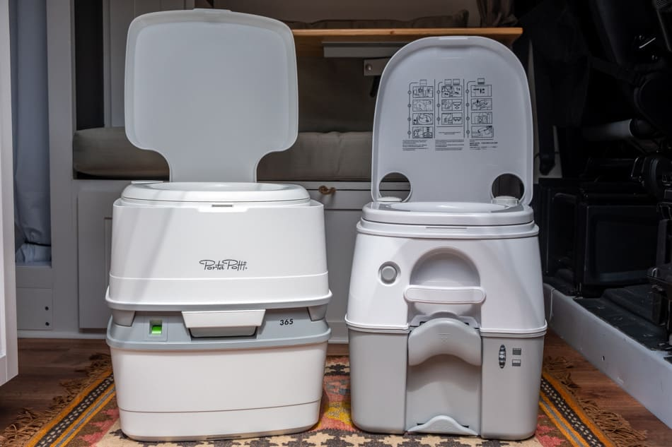 Thetford and Dometic portable toilets in camper van