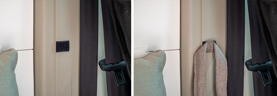 Curtain ties attached to van wall