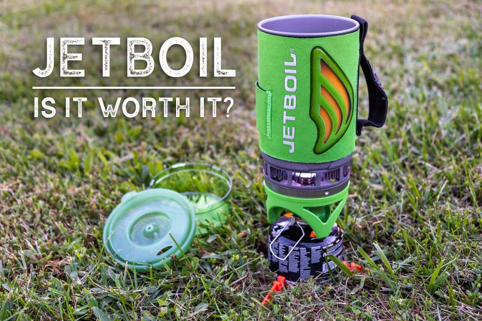Jetboil heating water in a grassy area